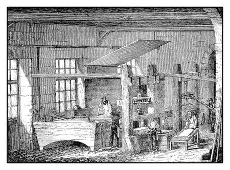 deckle: Workers producing handmade paper from rag pulp, XIX century engraving