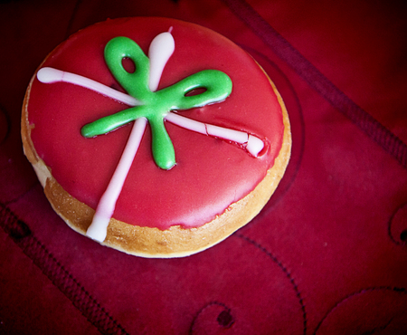 Doughnut with glazed cream and festive decoration Stock Photo - 72493136