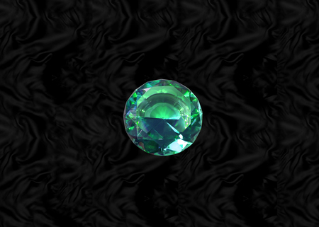 Glittering gem, green emerald  on black velvet background Stock Photo - 73248533