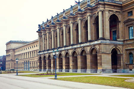 Munich, Residenz royal palace of the Bavarian kings: view of the Festival Hall Building from the Court Garden in Renaissance baroque style Stock Photo - 73088529