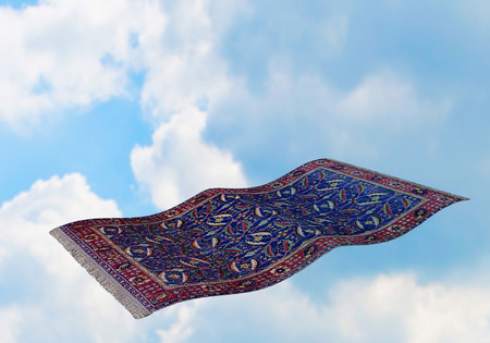 Surrealistic flying carpet against blue sky and white clouds. 3D rendering