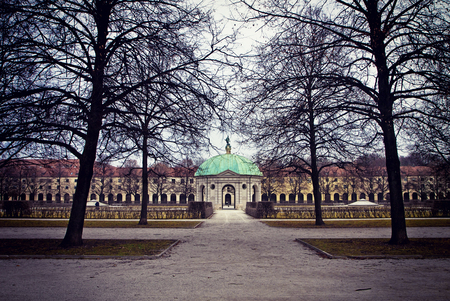 Munich, Germany, winter view of the Hofgarten round pavilionin in the baroque garden built in XVII century by Maximilian I, Elector of Bavaria in Italian  Renaissance style Stock Photo - 73248531