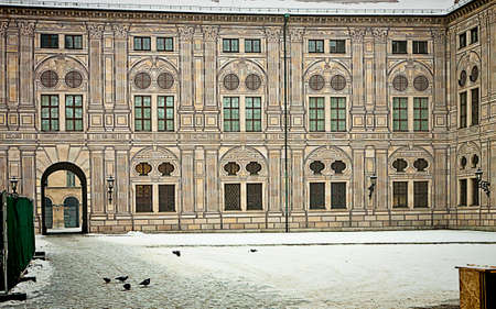 forced perspective: Munich, Germany - Suggestive winter view of the courtyards of the residence, royal palace of the Bavarian kings in Renaissance Italian style painted with forced perspective decorations