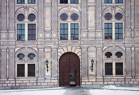 forced perspective: Munich, Germany - Suggestive winter view of one of the entrance of the residence, royal palace of the Bavarian kings in Renaissance Italian style painted with forced perspective decorations