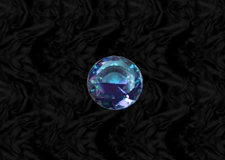 Glittering gem, blue sapphire on black velvet background Stock Photo - 73197594