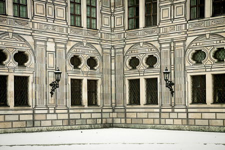 forced perspective: Munich, Germany - suggestive winter view a courtyard corner of the Residenz, royal palace of the Bavarian kings in Renaissance Italian style painted with forced perspective decorations