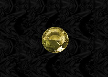 Glittering gem, yellow topaz on black velvet baclground Stock Photo - 73088513