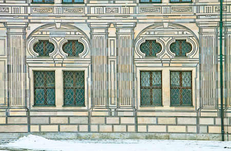 forced perspective: Munich, Germany - Suggestive winter view of the residence, royal palace of the former Bavarian kings, in Renaissance Italian style with the facades painted with forced perspective decorations Stock Photo