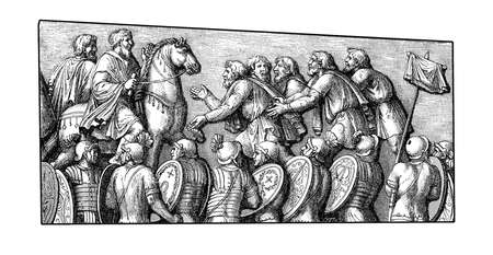 subdue: Vintage engraving representing Germans of the Marcomanni tribe begging for mercy to the Roman emperor, scene carved on the victory colunm of Marcus Aurelius in Rome (II century)
