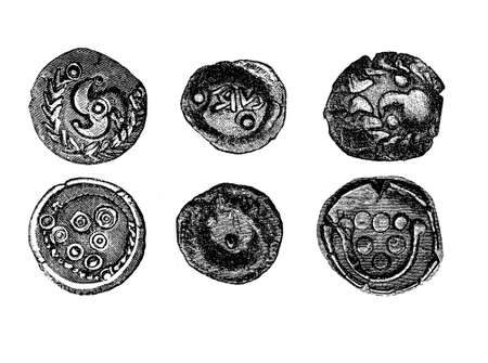 celts: Vintage engraving of golden coins of the Celts in iron age