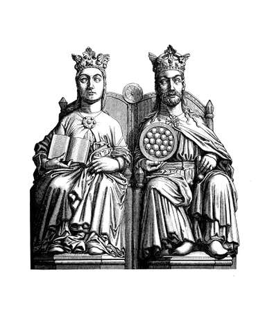 Statue of Otto I the Great Holy Roman Emperor and king of Germany on the royal throne with wife Edith of England, Magdeburg cathedral, X century Stock Photo
