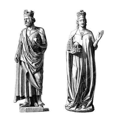 roman empire: Statues of Henry II, Holy Roman Emperor and his wife Cunigunde of Luxembourg, Bamberg cathedral, XI century Stock Photo