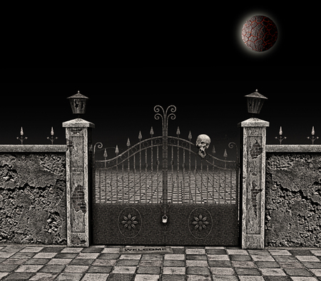 doomed: 3D rendering: a spooky manor gate abandoned and ancient, closed by padlock and chain, with broken lamps and antique inscriptions on the front  pillars,flanked by dilapidated walls and with a skull hanging from a wrought iron lance. All this under a doomed Stock Photo