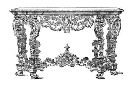 Vintage engraving of rococo console Louis XIV furniture style, XVII century Stock Photo