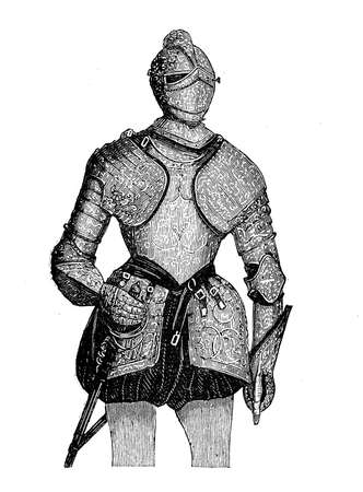 Richly baroque decorated armor with  completely close helm (armet) and brocade breeches, XVI century