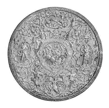 Renaissance round shield, embossed and chiseled iron with mythological decorations, Italian artwork XVI century