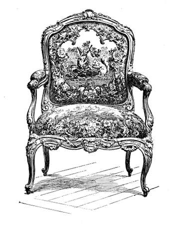 Vintage engraving of rococo style upholstered chair, XVII century Stock Photo