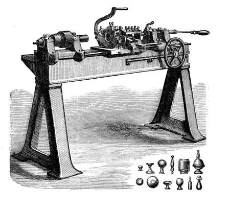 machining: Metalworking, turning bench lathe with cone heads and accessories, vintage engraving