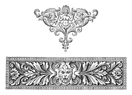 Richly decorated baroque typographic border, mythological figure and floreal motives Stock Photo