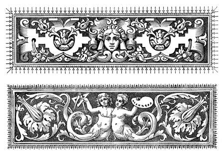 baroque border: Two richly decorated baroque typographic borders with figures, objects  and floreal motives