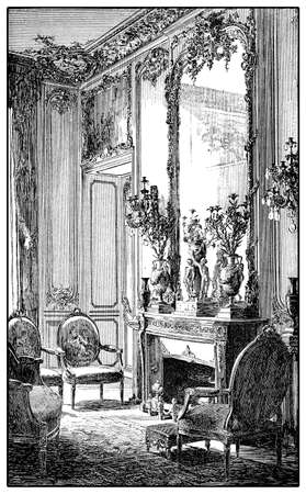 Vintage engraving of baroque style richly decorated parlor with fireplace,mirror and upholstered chairs, XVII century