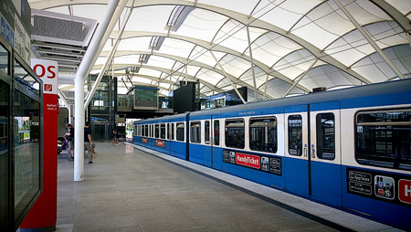 MUNICH, GERMANY the subway station of Munich-Froettmaning near Allianz Arena important meeting point for football aficionados