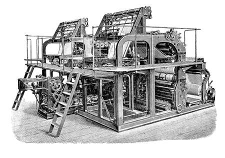 Double high speed rotary printing press for mass production of newspapers and magazines, XIX century engraving