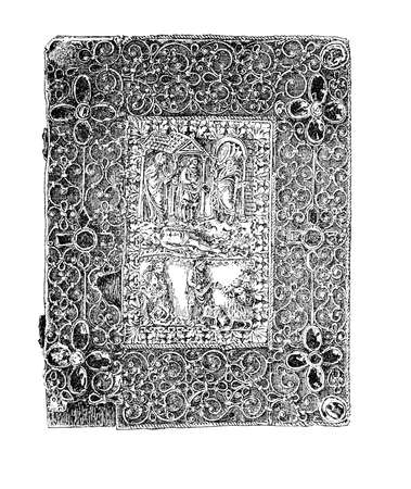 Medieval jeweled bookbinding with metalwork, ivory carvings and jewels, Karolingian time, IX century