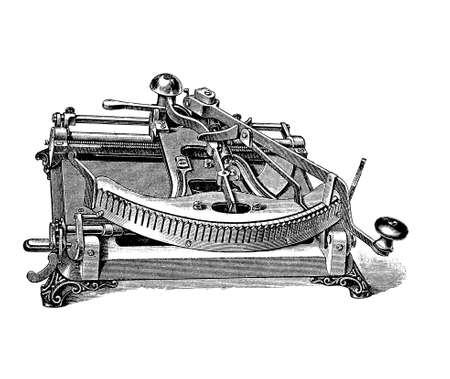 Kosmopolit typewriter, one of the first typewriter in Germany from 1888. The style of type can be changed simply by replacing the type plate