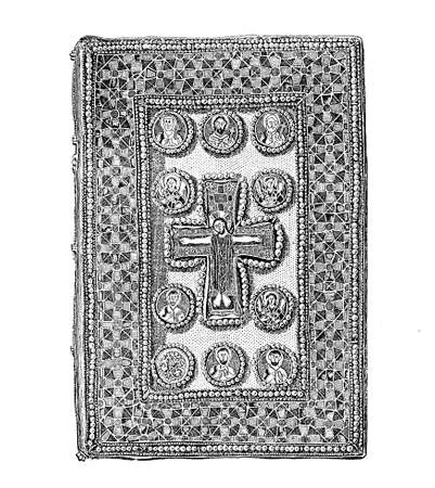 Byzantine jewelled bookbinding, medieval religious book, artwork set with enamels and jewelry, vintage illustration Stock Photo
