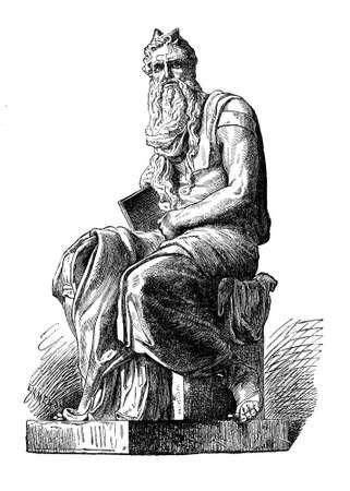 Moses, famous marble sculpture by Renaissance artist Michelangelo Buonarroti in S. Pietro in Vincoli church in Rome, XVI century