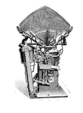 Typography, typesetting machine for print composition, XIX century
