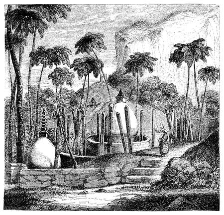 restored: Vintage engraving of Thuparamaya place of meditation and  hemispherical structure containing a relic of the Buddah, built by King Devanampiyatissa and restored several times in the course of the centuries