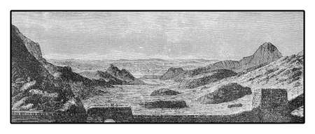 ming: Vintage engraving of the wide panorama from the Great Wall of China built across the historical northern borders of China to protect the empire from nomadic invasions