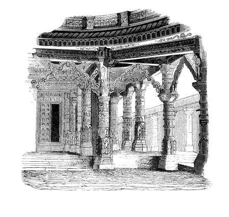 sculpted: Vintage engraving of the Temple of Vimala Shah on Mount Abu in Rajasthan - India with elaborated carved white marble columns, vaults and ceiling of architectural perfection. Stock Photo