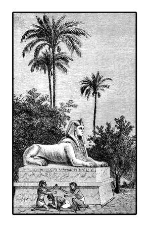 antiquity: Vintage engraving of life costumes in Egypt antiquity, kids playing morra near a Sphynx