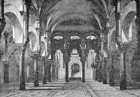 XIX century engraving of the Mosque-Cathedral of Cordoba interior, with mixed architecture in Morish and gothic style and richly decorated marble arches and columns