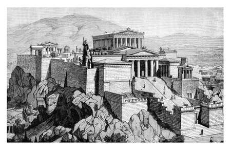 citadel: XIX century engraving describing how could have been the Acropolis of Athens in the antique times, not damaged over the course of centuries. Stock Photo