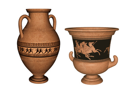 Antique Greek terra-cotta vase and amphora with runners, knights and stylized decorations. 3D rendering.