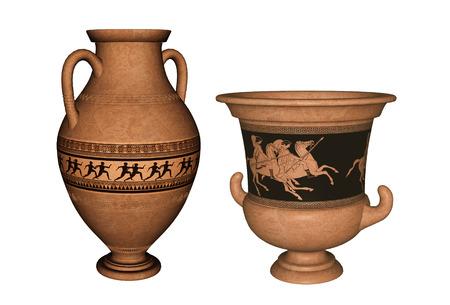 Vase antique en terre cuite grecque et amphore avec des coureurs, des chevaliers et des décorations stylisées. Rendu 3D.