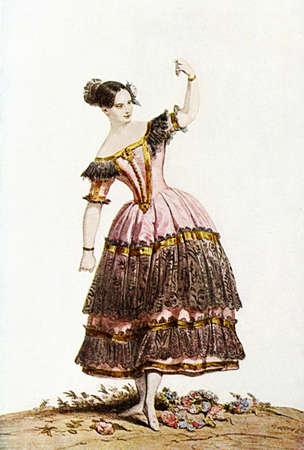 Beautiful portrait of Austrian dancer Fanny Essler (1810-1884) wearing a ballet spanish costume, book illustration XIX century