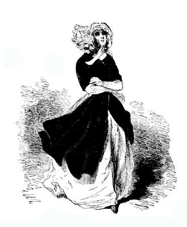 XIX century engraving of young lady with bonnet and coat walking in the wind
