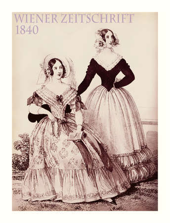 velvet dress: Vienna 1840 fashion; two young ladies fancy dressed with hat and haido sitting outdoors