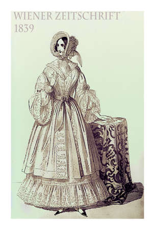 Vienna 1839 fashion; young lady fancy dressed with hat and haido standing in pose indoors