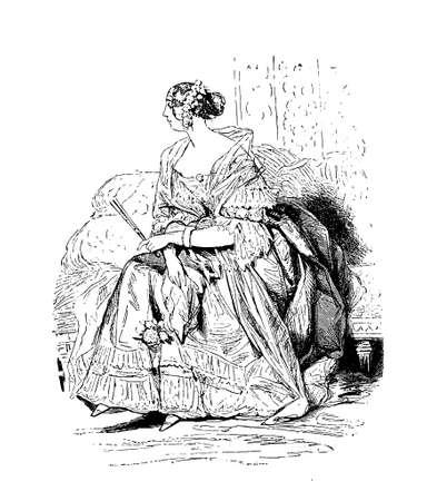 Early 800 engraving of youg lady with bored espression sitting on a sofa with fancy dress, hairdo, shawl and fan