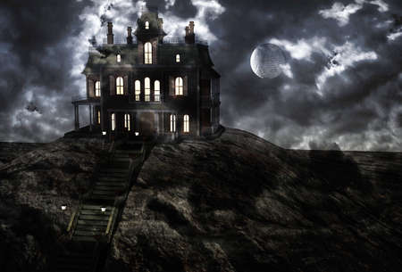 nightmarish: Haunted ghostly mansion on top of the hill on a full moon night and low clouds. 3D rendering Stock Photo