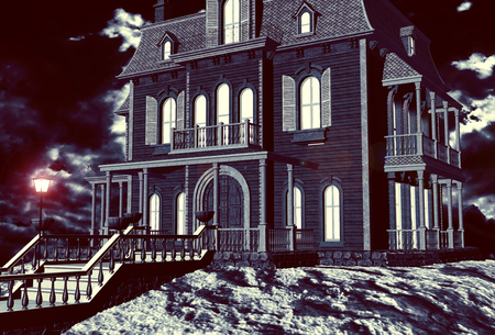 nightmarish: Creepy house close up with illuminated windows and lamp on the staircase in a dark night. 3D rendering
