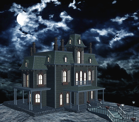 nightmarish: Ghostly house with illuminated windows on a full moon night and clouds. 3D rendering Stock Photo