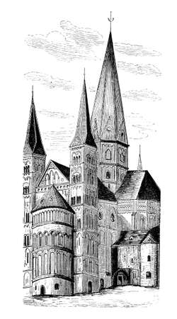 Vintage engraving of Bonn Minster, Roman Catholic church in Bonn - Germany built at the end of VIII century in Carolingian times as St. Cassiusn and St. Florentius stift church.
