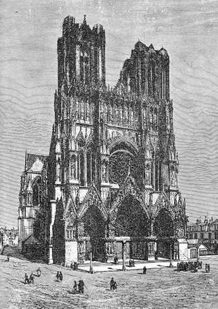 french culture: vintage engraving of Notre-Dame de Reims cathedral in Reims, France, where the kings of France were crowned. Built in Carolingian times and completed in XII century in French Gothic style with two high towers and the portals decorated with statues and sta